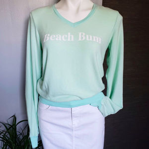 Wildfox || NEW Beach Bum V Neck Sweatshirt XS Mint